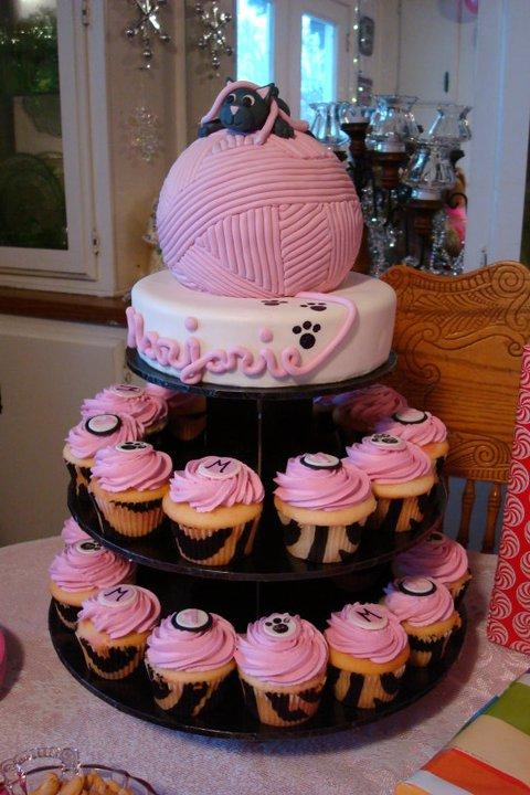 Kitty and Yarn Cupcake Tower